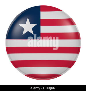 3d rendering of a Liberia flag on a button - Stock Photo