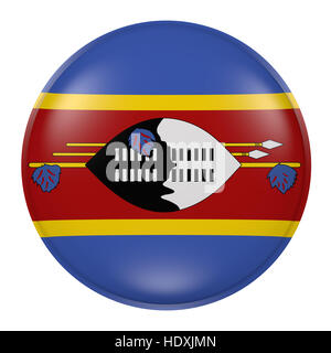 3d rendering of a Swaziland flag on a button - Stock Photo