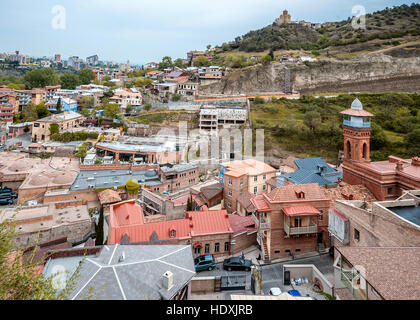 Georgia, Tbilisi. View from the fortress Narikala Old City , sulfur baths , a Muslim mosque . - Stock Photo