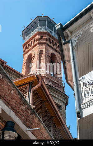 Georgia, Tbilisi. Minaret Muslim Mosque in the Old City . - Stock Photo