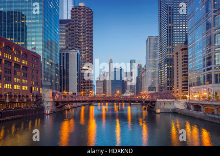 Chicago Downtown. Cityscape image of Chicago downtown during twilight blue hour. - Stock Photo