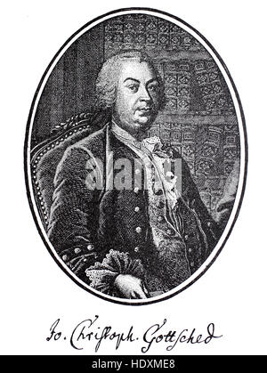 Johann Christoph Gottsched, 1700-1766, a German philosopher, author and critic, woodcut from the year 1882, digital - Stock Photo