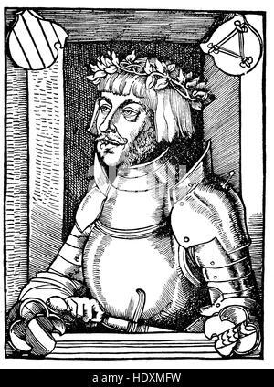 Ulrich von Hutten, 1488-1523, a German scholar, poet, satirist and reformer, woodcut from the year 1882, digital - Stock Photo