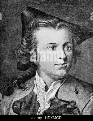 Gotthold Ephraim Lessing, 1729-1781, a German writer, philosopher, dramatist, publicist and art critic, in the picture - Stock Photo