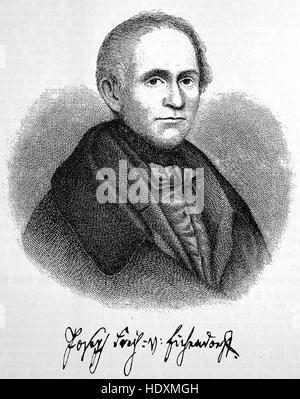 Joseph Freiherr von Eichendorff, 1788-1857, a Prussian poet, novelist, playwright, literary critic, translator and - Stock Photo