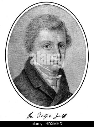 Wilhelm Hauff, 1802-1827, a German poet and novelist, woodcut from the year 1882, digital improved - Stock Photo