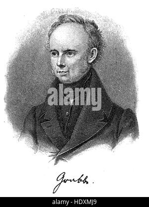 Christian Dietrich Grabbe, 1801-1836, a German dramatist of the Vormaerz era, woodcut from the year 1882, digital - Stock Photo
