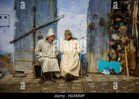Streets and alleys of the Medina of Chefchaouen, Morocco - Stock Photo