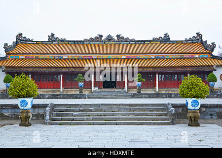 One of the few restored buildings at the Imperial City in Hue, Vietnam. - Stock Photo