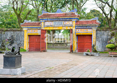 One of the many gates in the Forbiden Purple City.Hue. Vietnam. Unesco heritage.Site - Stock Photo