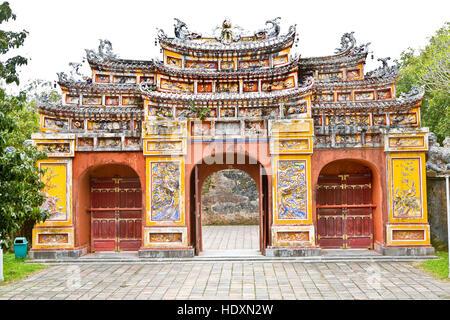 Chuong Duc gate, group of temples dedicated to emperor cult, the Forbidden City, UNESCO, Hue, Thua Thien Hue, Vietnam - Stock Photo