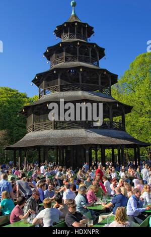 Beer garden at Englischer Garten, Munich - Stock Photo