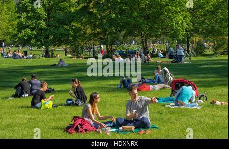 Englischer Garten park in Munich - Stock Photo