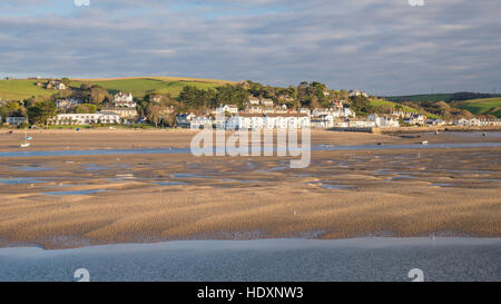 An estuary view of Instow from Appledore with the River Torridge at low tide. - Stock Photo