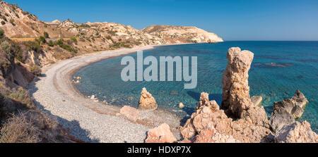 Aphrodite's rock and empty beach, Cyprus - Stock Photo