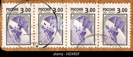 A postage stamp printed in Russia  shows Space station , 1998 - Stock Photo