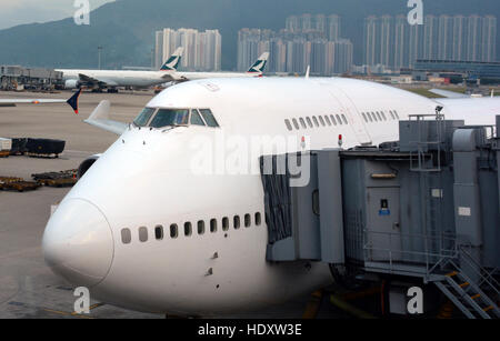 Boeing 747 Hong Kong international airport China - Stock Photo