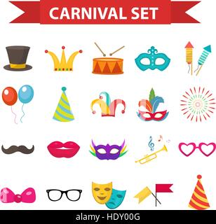 Party icons, design element, flat style. Carnival accessories, props, isolated on white background. Masquerade Collection. - Stock Photo