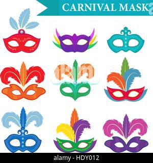 Masquerade mask set, flat style. Carnival collection isolated on white background. Party. Vector illustration, clip - Stock Photo