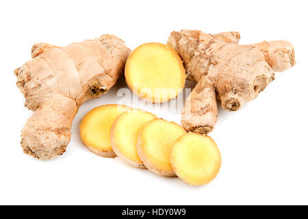ginger root isolated on white background - Stock Photo