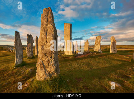 Calanais Standing Stones  central stone circle erected between 2900-2600BC, Isle of Lewis Scotland - Stock Photo