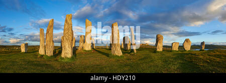 Panorama of Calanais Standing Stones  central stone circle erected between 2900-2600BC, Scotland - Stock Photo