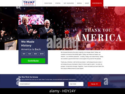 DONALD TRUMP As US President-Elect with Vice President Elect Mike Pence. Web page thanking supporters in December 2016.