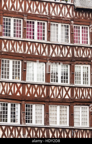 Timber framed houses in the city of Rennes in France. - Stock Photo