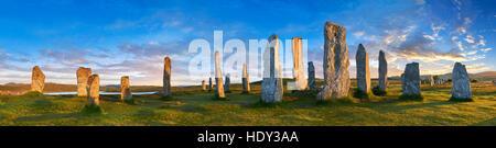 Panorama of Calanais Standing Stones  central stone circle erected between 2900-2600BC, Scotland - Stock Photo