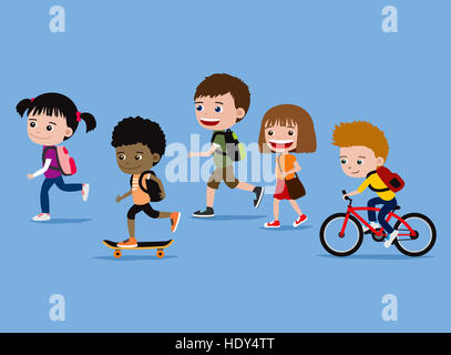 Children going to school. Cartoon illustration of cute five kids on their way to school. - Stock Photo