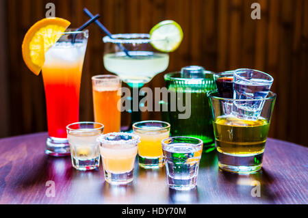 Set of various Tequila Cocktails - Stock Photo