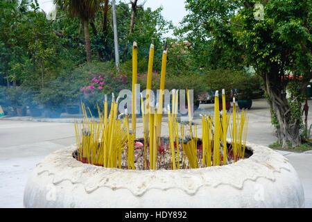 Incense sticks burning at Po Lin monastery at Lantau at Hongkong. - Stock Photo