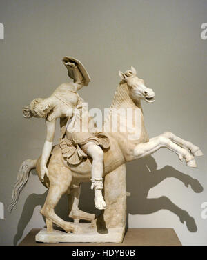 Amazon on horseback. 2nd century AD copy of a Greek original of the 2nd century BC.  National Archaeological Museum, - Stock Photo
