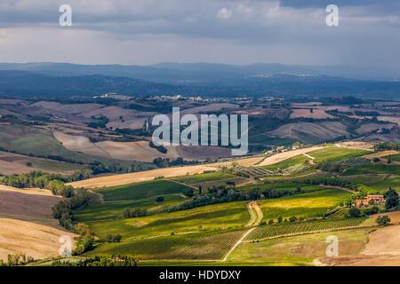Landscape of La Val d'Orcia. - Stock Photo