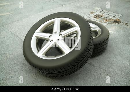 car tire on street - 3d rendering - Stock Photo