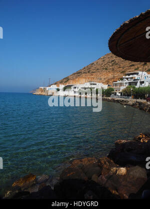 view of Agia Marina and Spilia beach in port of Kamares Sifnos Greek Island in Cyclades Greece - Stock Photo
