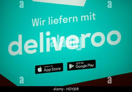 das Logo der Marke 'Deliveroo', Berlin. - Stock Photo