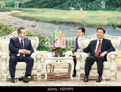 Beijing, China. 15th Dec, 2016. Chinese Vice President Li Yuanchao (R) meets with Serbia's First Deputy Prime Minister - Stock Photo