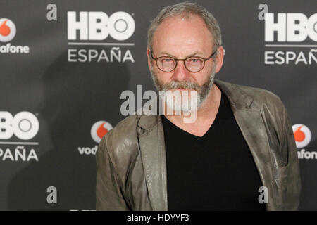 Madrid, Spain. 15th Dec, 2016.  Liam Cunningham at the presentation of the new HBO Channel Spain at the Ursa Hotel - Stock Photo