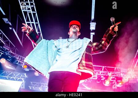 Milan, Italy. 15th Dec, 2016. Italian rapper Salmo performs live at Fabrique in Milano, Italy, on December 15 2016 - Stock Photo