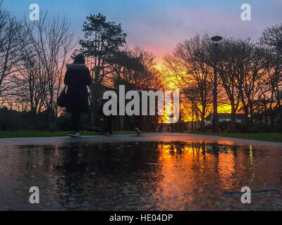Aberystwyth, Wales, UK. 16 December 2016. UK weather: As the remarkably mild December weather continues, people - Stock Photo