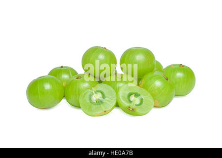 Indian gooseberry or Amla (Phyllanthus emblica) on white - Stock Photo
