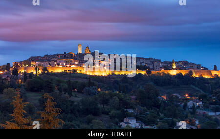 Twilight over medieval town of St Paul de Vence, Provence, France