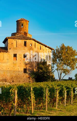 Setting sunlight on Castello della Volta near Barolo, Piemonte, Italy - Stock Photo