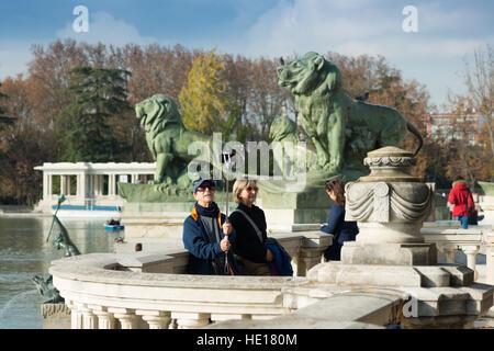Spain Europe Spanish Madrid Retiro Retiro Buen Retiro Park city park King Alfonso XII monument - Stock Photo