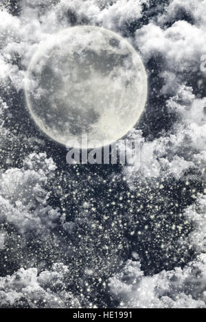 Christmas Night Winter Background With Dark Sky, Moon, Stars, Clouds and Falling Snow - Stock Photo