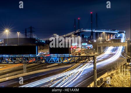 Dartford crossing at night. - Stock Photo