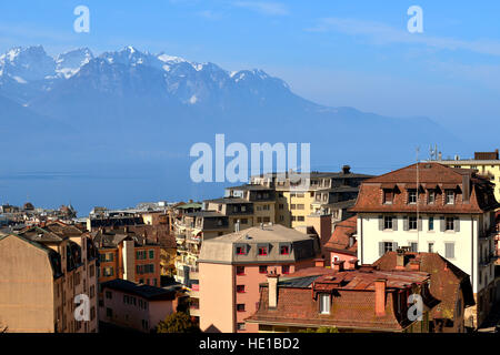 View of French Alps over Geneva Lake in Montreux - Stock Photo