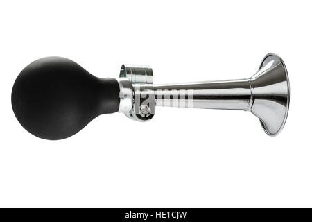 Old fashioned horn with chrome trumpet and rubber bulb blower isolated on white - Stock Photo