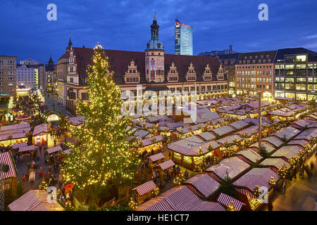 Christmas market on the market square with old town hall in Leipzig, Saxony, Germany - Stock Photo